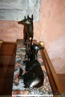SCULPTURE ART DÉCO Irenée ROCHARD Famille Biches Faon Regule patine bronze