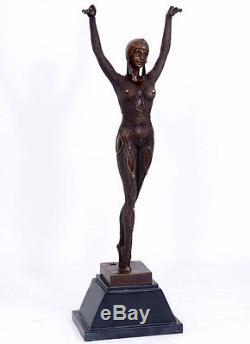 STATUE EN BRONZE 66cm SCULPTURE DANSEUSE BALLET FIGURINE STATUETTE ART DECO