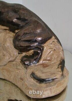 STATUE sculpture ANIMALIÈRE PANTHÈRE FAÏENCE ART DÉCO 1930 style Dalpayrat