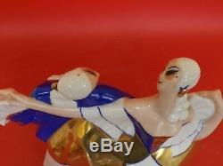 Sculpture ART DECO en Porcelaine signée La Maitrise AYME. Couple Dansant