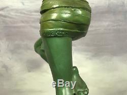 Sculpture Art Déco (1920-1930) Signée Leste (la Danseuse Au Ballon) 26 CM