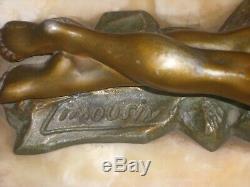 Sculpture Art Déco 1930 Signée G. LIMOUSIN marbre Régule Femme Et bouc