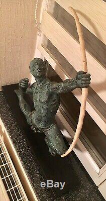 Sculpture Art Deco Archer Fonte Dart Patine Verte Attribuée Chiparus Année 1930