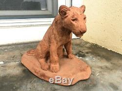 Sculpture Art Déco Circa 1930 Lionceau assis Roger Godchaux (1878-1958)