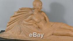 Sculpture Art Déco, Femme Alanguie Avec Drapé, Terre Cuite Signée J. Darcle