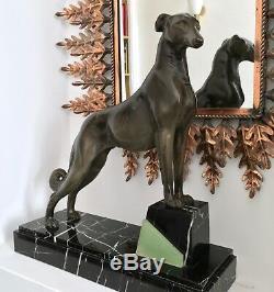Sculpture Art Déco Lévrier régule marbre onyx L. Carvin Décoration