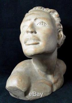 Sculpture Art Deco Platre Buste Homme Signature A Identifier 1930 B1452