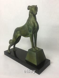 Sculpture Art Deco Signé Carvin En Bronze Sur Socle En Marbre Le Lévrier