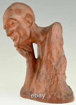 Sculpture Art Déco en terre cuite buste d'homme Gaston Hauchecorne 1925