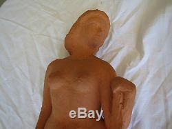 Sculpture Art-Déco en terre cuite femme nu laurent boillat 1953
