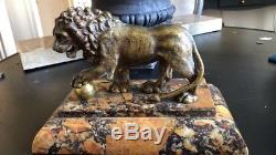 Sculpture Bronze Animalier Lion Art Deco Non Signé