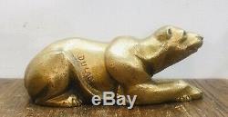 Sculpture Bronze Doré Art Deco Dun Ours Couché Signé Dulac Période Art Deco