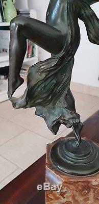 Sculpture Bronze Eugene Desire Piron 1875-1928 Femme Modern Art Deco Jugenstil