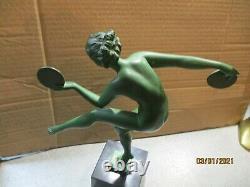 Sculpture Danseuse Aux Cymballes Signee Derenne Style Art Deco