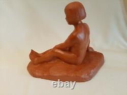 Sculpture Enfant à l'arc Etienne Forestier Terre Cuite Art Déco TTB
