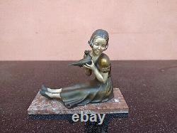 Sculpture Jeune Fille Art Deco Regule Socle 1930