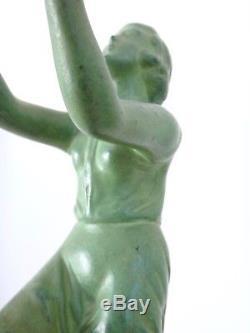 Sculpture MAX LE VERRIER Jeune Femme à la corde à sauter époque ART DECO 1930