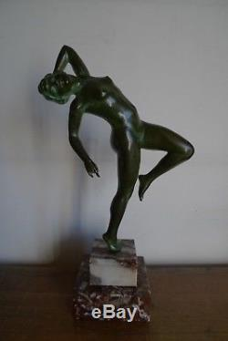 Sculpture Statue Danseuse Nue Bronze Marbre Art Epoque Deco Vers 1930