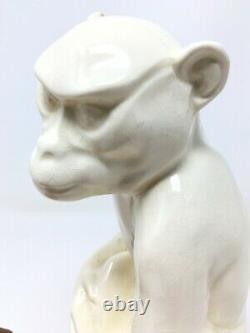 Sculpture Statuette Animalier Singe Sarreguemines Style Art Deco Monkey Craquelé