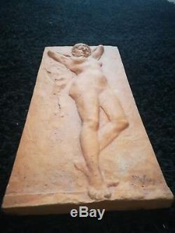 Sculpture art deco en terre cuite femme nue 1930 signée style Cipriani rodin