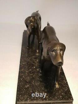 Sculpture braque chiens de chasse à l'arrêt ART DECO en régule & marbre