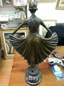 Sculpture bronze ART DECO danseuse signe LEONARD chiparus H 54 cm