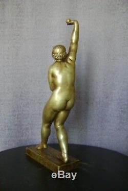 Sculpture bronze art-déco Chauvel Maillol jongleuse danseuse