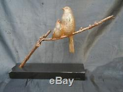 Sculpture bronze oiseaux moineaux sur branches Becquerel bronze Art Deco 1930