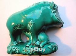 Sculpture céramique verte, LE JAN ou LEMANCEAU Sanglier et son petit