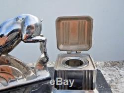Sculpture chamois encrier bureau metal chrome d'epoque Art Deco
