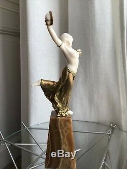 Sculpture chryséléphantine art deco L. Barthélémy Danseuse aux cymbales