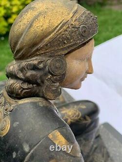 Sculpture chryséléphantine femme lévriers ART DÉCO 1930 regule