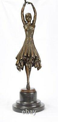 Sculpture en Bronze Femme Kita Danseuse sur Base Marbre Figure de Art Déco
