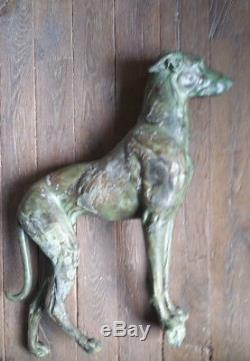 Sculpture en plomb d'ornement- Art Déco-Lévrier-patine bronze oxydé