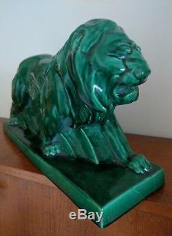 Sculpture faïence craquelée LION ART DÉCO par Lejan, Le Jan, Peugeot, céramique XXE