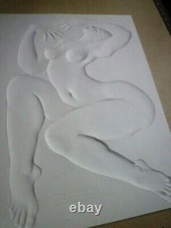 Sculpture gauffrée femme art déco signée Daniel Druet parfait état +grand livret