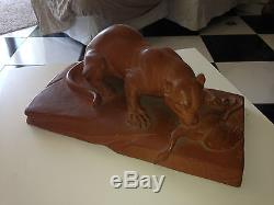 Sculpture leo amaury lionne art deco année 30 terre cuite animaux chasse