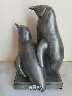 Sculpture les pingouins Art Déco Marcel Bouraine atelier Max Le Verrier 1930