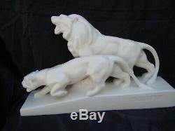 Sculpture statue Lion Lionne rugissant Levallois François Sainte Radegonde