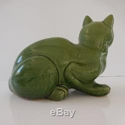 Sculpture statue chat art-déco céramique faïence