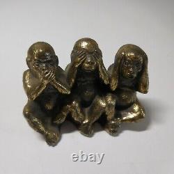 Sculpture statue figurine 3 singes bronze vintage déco design maison PN N4743