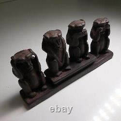 Sculpture statue figurine quatre singes vintage art déco collection maison N5877