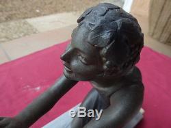 Sculpture statue régule art déco 1900 femme et bouc marbre / bur