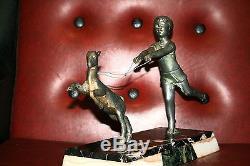 Sculpture statue régule signée P SEGA art déco chèvre enfant marbre french