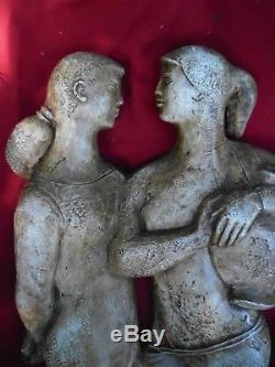 Sculpture (stuc Platre) D'artiste Art Deco Vers 1940 Couple De Femme