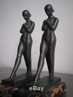 Serre Livres Bronze Patine Femme Art Deco Statue 1930 Max Le Verrier Sculpture