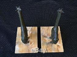 Serre Livres Girafes En Bronze Art Deco Signe Manin Sculpture