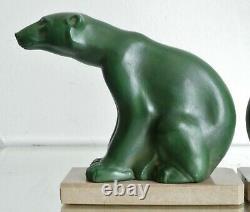 Serre-livres Art déco statues sculpture ours polaire signés M. FONT métal patiné