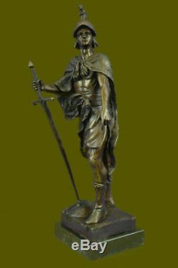SignéePicaultSoldat Romain Buste Bronze Sculpture Base Marbre Art Déco
