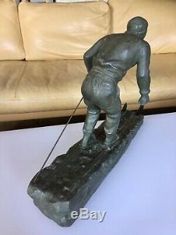 Skieur Ski Artdeco Sculpture Design Fugere